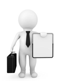 3d zakenman die een leeg aanplakbiljet op een witte achtergrond houdt