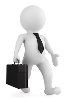 3d zakenman die met een aktentas in zijn hand op een witte achtergrond loopt