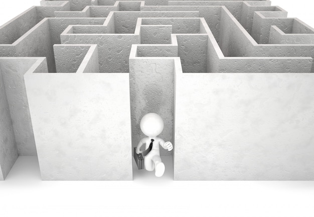 3d zakenman die uit labyrint loopt. geïsoleerd. bevat uitknippad