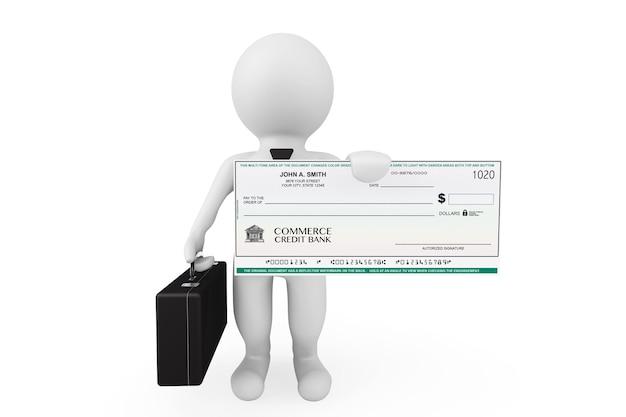 3d-zakenman houdt bankcheque op een witte achtergrond