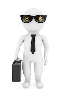 3d zakenman in zonnebril met dollarteken op een witte achtergrond. 3d-rendering