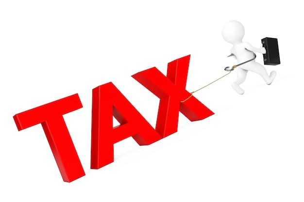 3d zakenman lopen van belasting teken op een witte achtergrond. 3d-rendering.