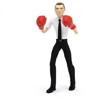 3d-zakenman met bokshandschoenen