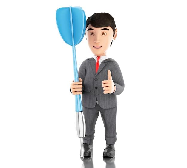 3d zakenman met een blauwe pijl.