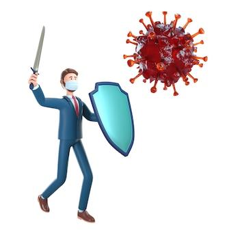 3d zakenman met ridderschild en zwaard die de bacteriën van het coronavirus bestrijden.