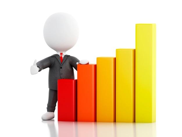 3d zakenman met statistische grafiek. succes concept.