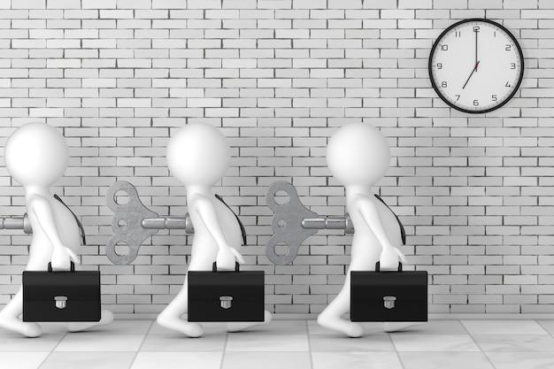 3d zakenman personen met oude metalen opwindsleutel in hun rug voor bakstenen muur met moderne klok extreme close-up. 3d-rendering