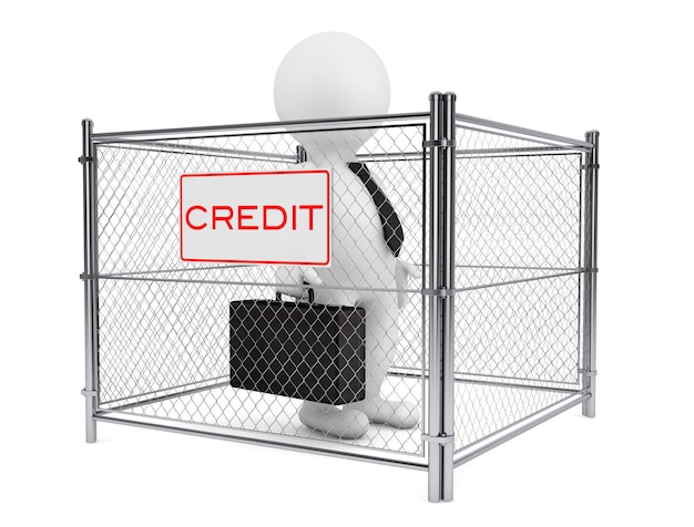 3d zakenman persoon binnen een wired credit fence op een witte achtergrond. 3d-rendering