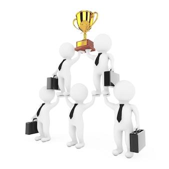 3d zakenman team karakter piramide met gouden trofee toont hiërarchie en teamwork op een witte achtergrond. 3d-rendering