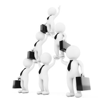 3d zakenman team karakter piramide toont hiërarchie en teamwork op een witte achtergrond. 3d-rendering