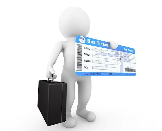 3d, zakenman, vasthouden, bus, instapkaart, ticket, op, een, witte, background