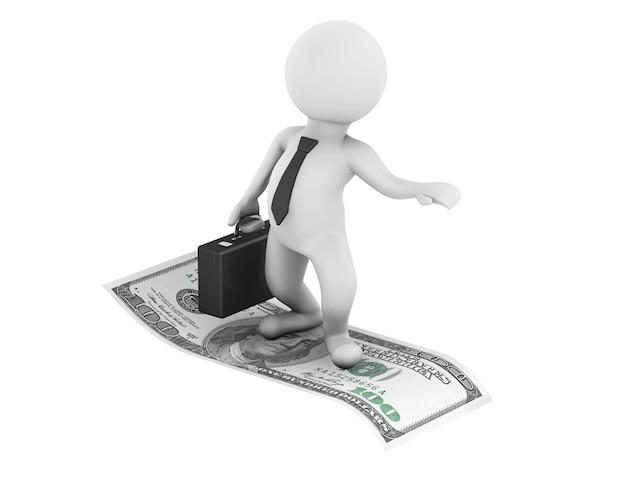 3d zakenman vliegen op amerikaanse dollars op een witte background