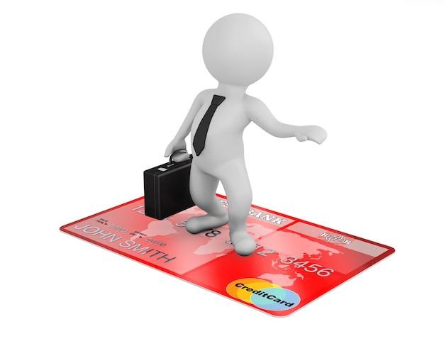 3d zakenman vliegen op creditcard op een witte achtergrond
