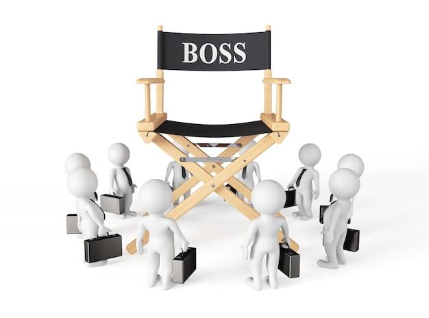 3d, zakenmannen, rond, directeur, baas, stoel, op, een, witte, background