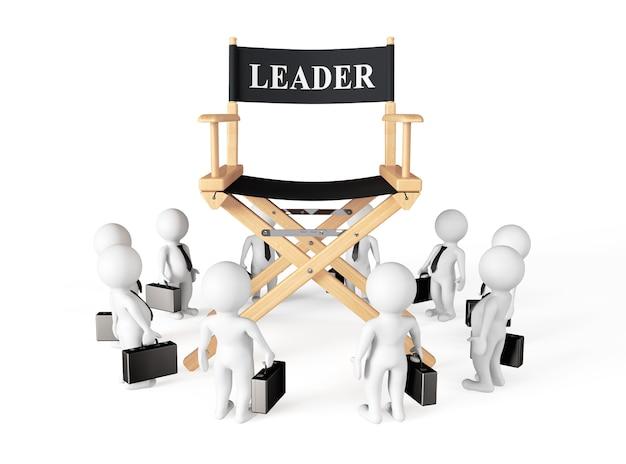 3d, zakenmannen, rond, directeur, leider, stoel, op, een, witte, background