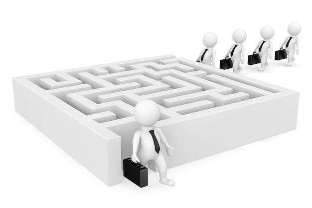 3d zakenmanpersonen gaan naar een labyrint op een witte achtergrond