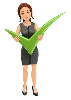 3d-zakenvrouw met een groot groen vinkje