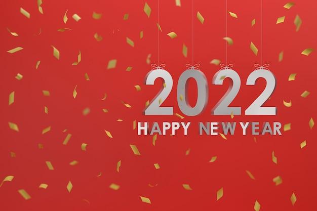 3d zilver 2022 opknoping met een touw concept gelukkig nieuwjaar en kerstmis rode blackground