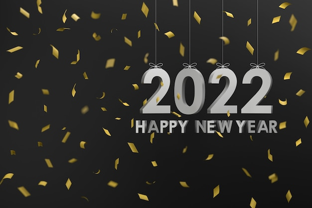 3d. zilver 2022 opknoping met een touw concept gelukkig nieuwjaar en kerstmis.