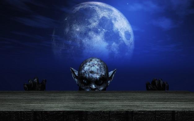 3d-zombie kijkt uit over een houten tafel tegen een maanlicht hemel