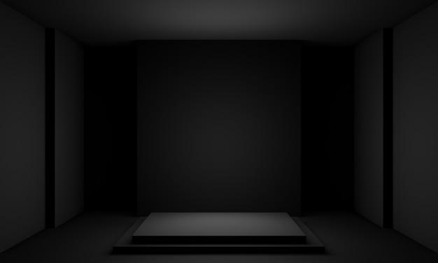 3d-zwart geometrisch podium