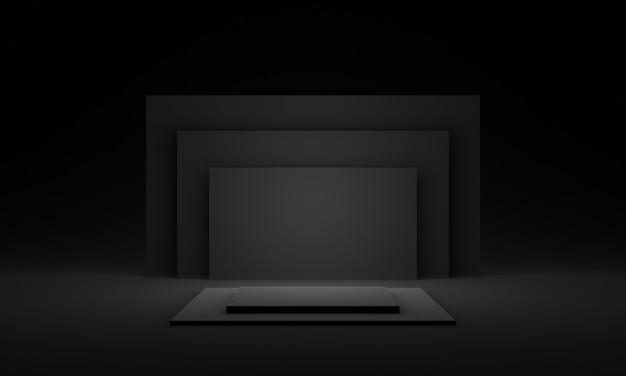 3d-zwart geometrisch podium.