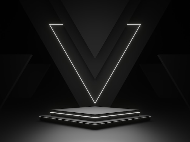 3d zwart geometrisch podiumpodium met wit neonlicht. donkere achtergrond.