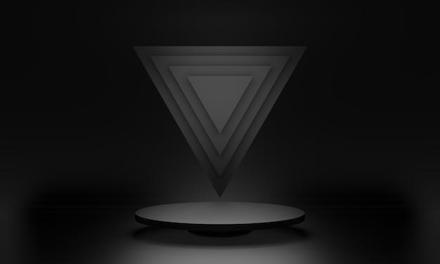 3d zwart geometrisch podiumpodium
