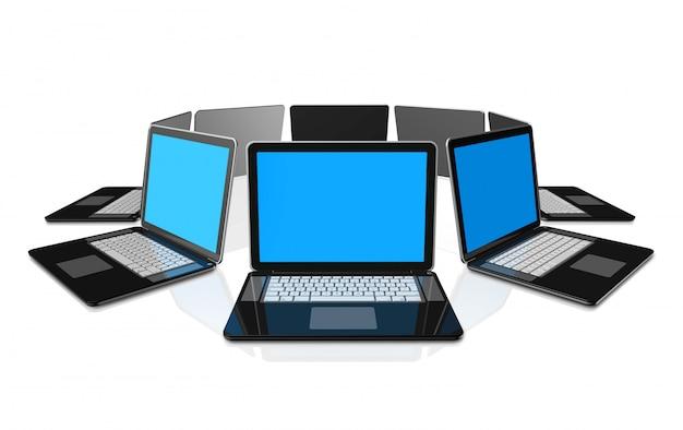 3d zwarte laptop computers geïsoleerd op wit