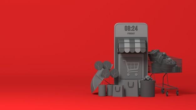 3d-zwarte online e-commerce winkel