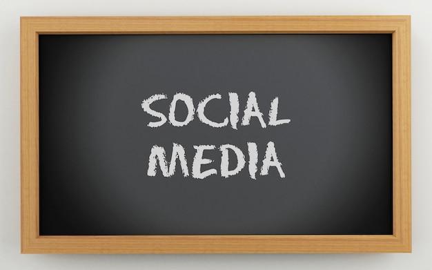 3d-zwarte schoolbord. social media-concept.