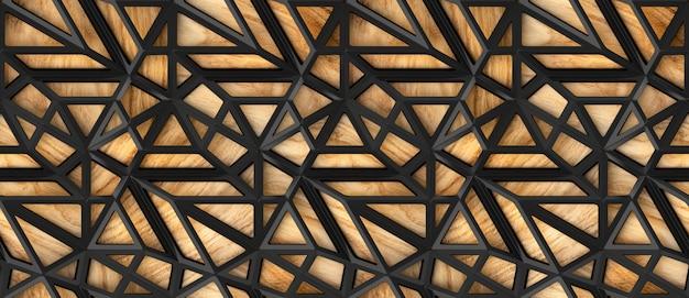 3d zwarte tegels van het zolderrooster op houten eiken achtergrond