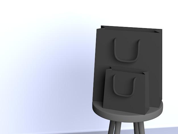 3d-zwarte zakken geïnstalleerd op stoel met witte achtergrond