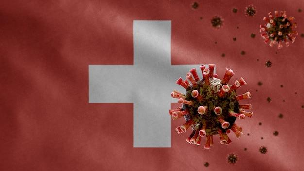 3d, zwitserse vlag zwaait met uitbraak van coronavirus die het ademhalingssysteem infecteert als gevaarlijke griep. influenza-type covid 19-virus met nationale zwitserse sjabloonblazende achtergrond.