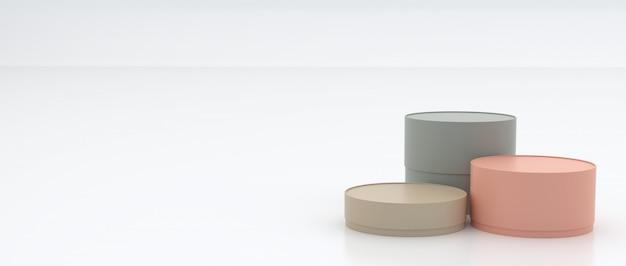 3e cilindrische dozen van verschillende groottes, pastelkleuren op de vloer en witte achtergrond, semi-glanzend, met reflecties, concepten, geschenkverpakking, 3d-rendering