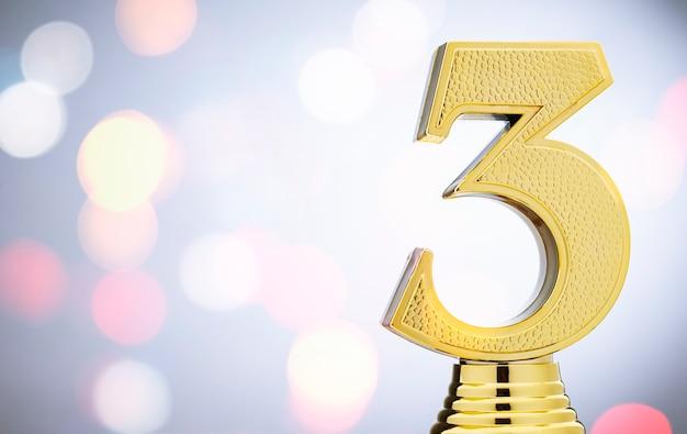 3e plaats tweede gouden metallic trofee