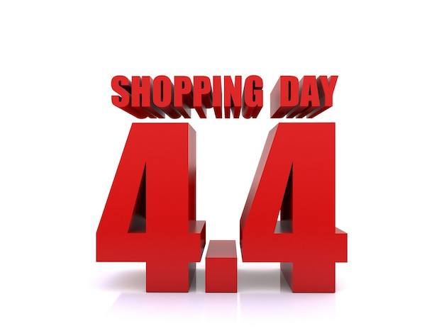 4.4 winkelen dag verkoop op witte achtergrond. 4 april verkoop poster sjabloon. 3d-rendering