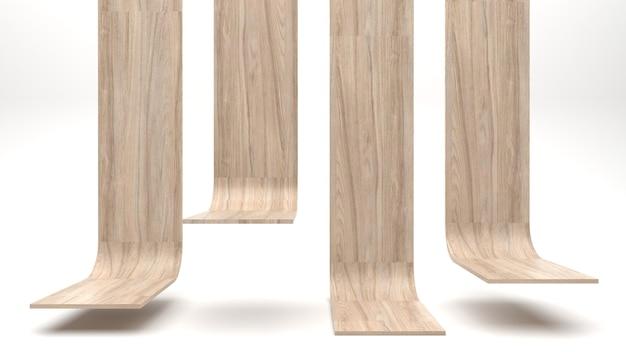 4 display stands, houten oppervlak, product beursstand, product showcase op een witte achtergrond.