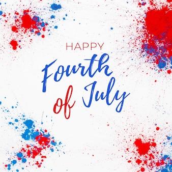 4 juli achtergrond met belettering en vuurwerk gemaakt met spatten van holi kleur
