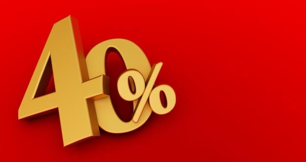 40% korting. goud veertig procent. gouden veertig procent op een witte achtergrond. 3d render.