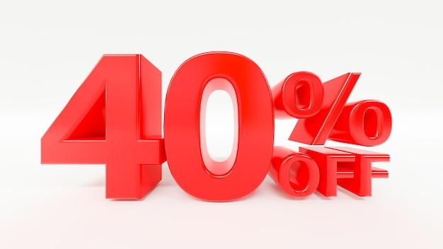 40 procent korting op 3d-tekst op witte achtergrond