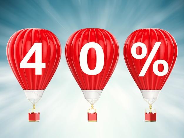 40% verkoop teken op 3d-rendering rode hete lucht ballonnen