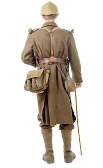40s franse soldaat met een vlag, achteraanzicht, geïsoleerd op wit