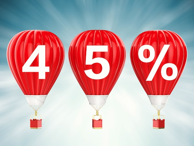 45% verkoop teken op 3d-rendering rode hete lucht ballonnen