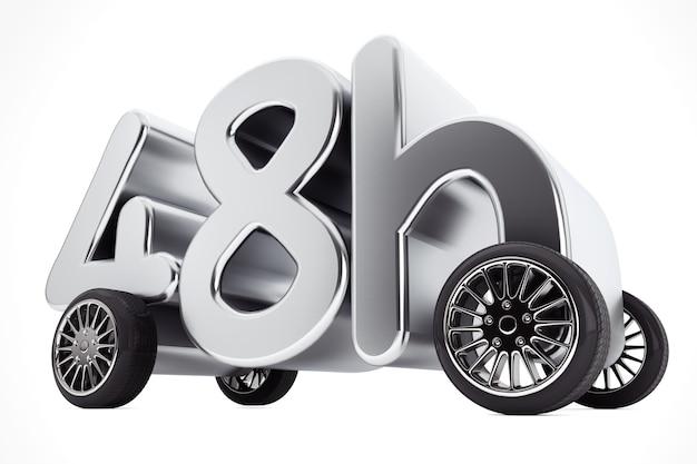 48 uur service- en leveringsconcept op wielen op een witte achtergrond. 3d-rendering.