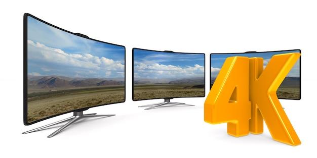 4k tv op witte achtergrond. geïsoleerde 3d illustratie