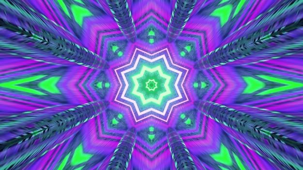 4k uhd 3d illustratie van caleidoscopisch stervormig ornament