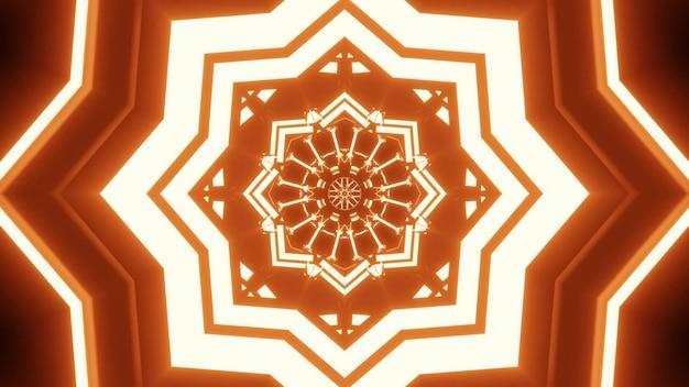 4k uhd 3d-illustratie van een helder stervormig ornament dat schijnt met gouden neonlicht en een abstracte tunnel vormt