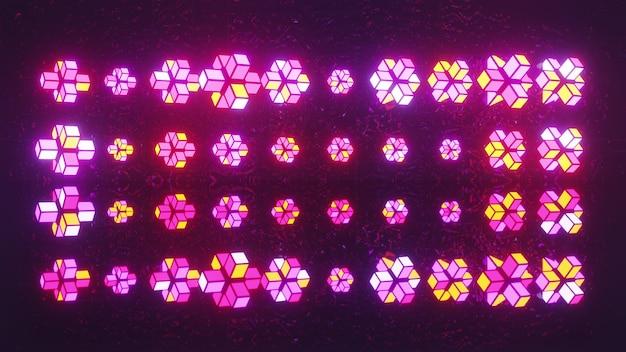 4k uhd 3d-illustratie van geometrische vormen samengesteld uit gloeiende neonblokken die een ongelijk ornament vormen
