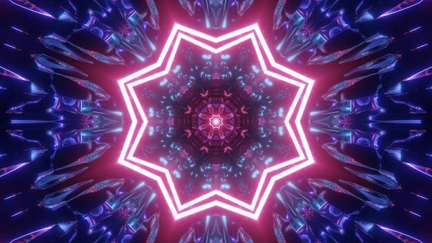 4k uhd 3d-illustratie van roze stervormige verlichting en abstract blauw ornament dat gloeit met neonlicht in de tunnel